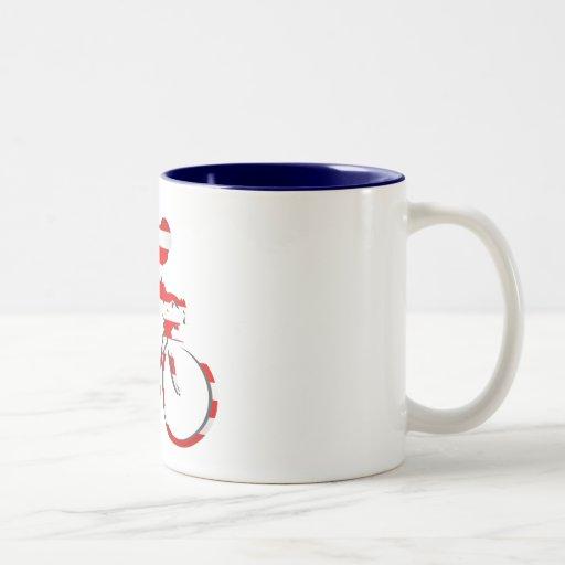 American USA Cycling Cyclists Bicycle Gear Two-Tone Coffee Mug