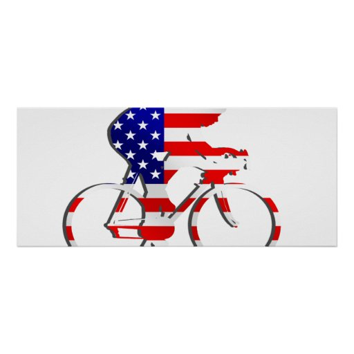 American USA Cycling Cyclists Bicycle Gear Poster