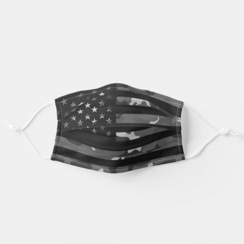 American USA Flag Camouflage Dark Black Camo Cloth Face Mask