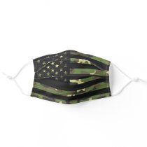 American USA Flag Camouflage Green Brown Camo Adult Cloth Face Mask