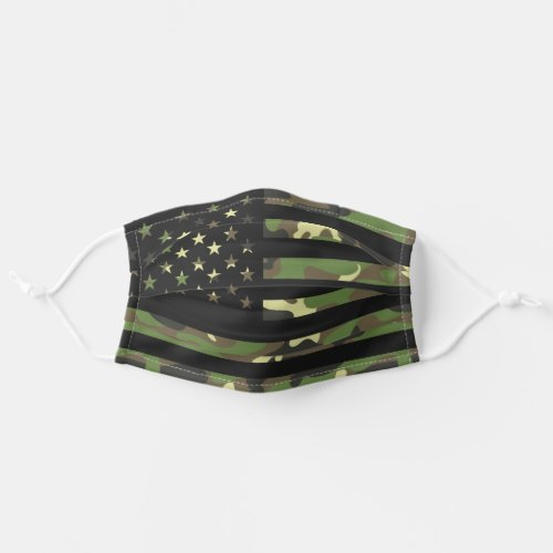 American USA Flag Camouflage Green Brown Camo Cloth Face Mask