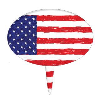 American USA Flag *Hand Sketch* Us Flag Cake Topper