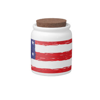 American USA Flag *Hand Sketch* Us Flag Candy Jar