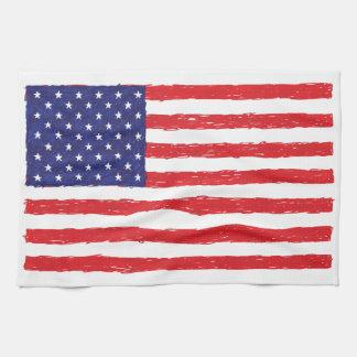 American USA Flag *Hand Sketch* Us Flag Towel