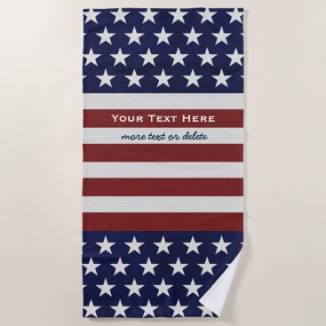 Beach Themed American USA Flag July 4th Patriotic Custom Beach Towel