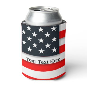 USA Themed American USA Flag Patriotic July 4th Can Cooler