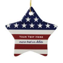 American USA Flag Patriotic July 4th Christmas Ceramic Ornament