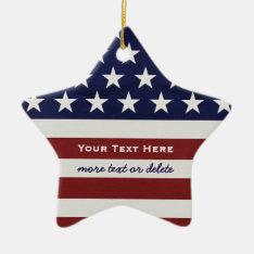 American Usa Flag Patriotic July 4th Christmas Ceramic Ornament at Zazzle
