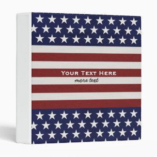 American USA Flag Patriotic July 4th Custom 3 Ring Binder