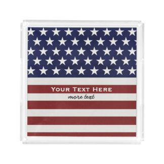 American USA Flag Patriotic July 4th Custom Square Serving Trays