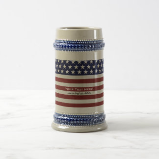 American USA Flag Patriotic July 4th Custom Beer Stein