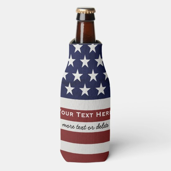 American USA Flag Patriotic July 4th Custom Bottle Bottle Cooler