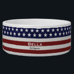 """American USA Flag Patriotic July 4th Custom Bowl<br><div class=""""desc"""">American Flag Patriotic Red, White and Blue design personalized with your name, text, patriotic saying or just delete the text. Red and white stripes and white stars and navy blue background add a crisp accent to your home decor, accessories and gift giving. Show your USA pride everyday, on the 4th...</div>"""