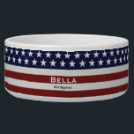 "American USA Flag Patriotic July 4th Custom Bowl<br><div class=""desc"">American Flag Patriotic Red, White and Blue design personalized with your name, text, patriotic saying or just delete the text. Red and white stripes and white stars and navy blue background add a crisp accent to your home decor, accessories and gift giving. Show your USA pride everyday, on the 4th...</div>"