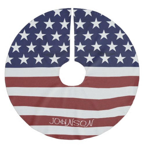 American USA Flag Patriotic July 4th Custom Brushed Polyester Tree Skirt