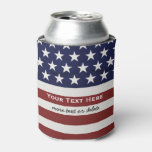 American Usa Flag Patriotic July 4th Custom Can Cooler at Zazzle