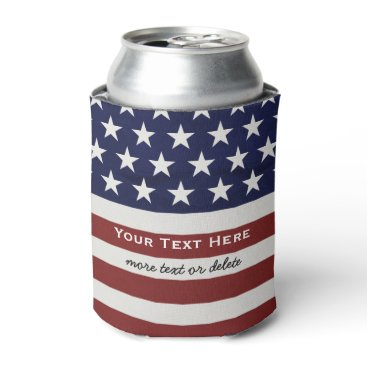 colorfulgalshop American USA Flag Patriotic July 4th Custom Can Cooler