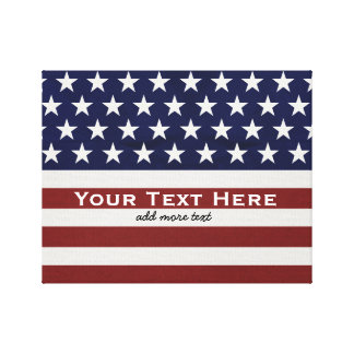 American USA Flag Patriotic July 4th Custom Canvas Print