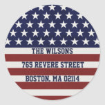 American USA Flag Patriotic July 4th Custom Classic Round Sticker