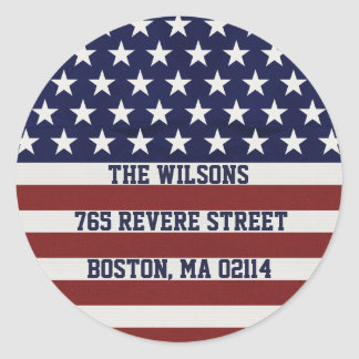 American USA Flag Patriotic July 4th Custom Classic Round Sticker