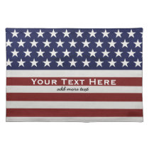 American USA Flag Patriotic July 4th Custom Cloth Placemat