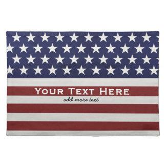 American USA Flag Patriotic July 4th Custom Cloth Placemat