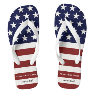 American USA Flag Patriotic July 4th Custom Flip Flops