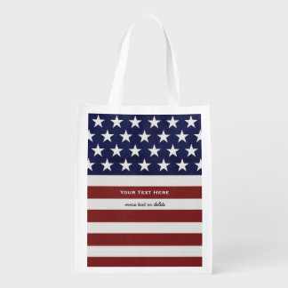 American USA Flag Patriotic July 4th Custom Grocery Bag