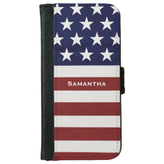 American USA Flag Patriotic July 4th Custom iPhone 6/6s Wallet Case