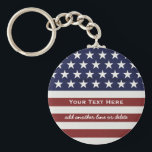 "American USA Flag Patriotic July 4th Custom Keychain<br><div class=""desc"">American Flag Patriotic Red, White and Blue design personalized with your name, text, patriotic saying or just delete the text. Red and white stripes and white stars add a crisp accent to your home decor, accessories and gift giving. Show your USA pride everyday, on the 4th of July or Memorial...</div>"