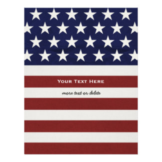 American USA Flag Patriotic July 4th Custom Letterhead