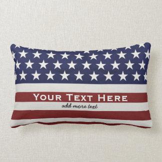 American USA Flag Patriotic July 4th Custom Lumbar Pillow