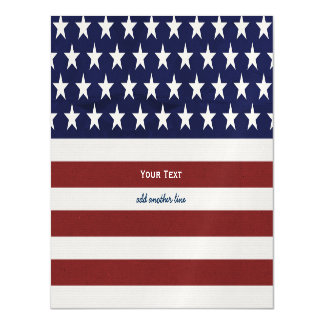 American USA Flag Patriotic July 4th Custom Magnetic Card