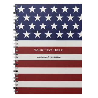 American USA Flag Patriotic July 4th Custom Spiral Note Books