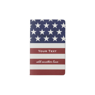 American USA Flag Patriotic July 4th Custom Pocket Moleskine Notebook Cover With Notebook