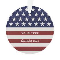 American USA Flag Patriotic July 4th Custom Ornament