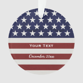 American Usa Flag Patriotic July 4th Custom Ornament at Zazzle