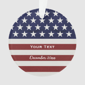 American USA Flag Patriotic July 4th Custom Ornament