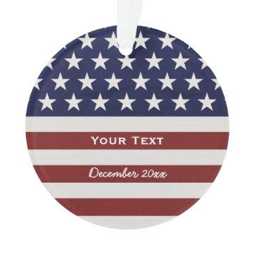 colorfulgalshop American USA Flag Patriotic July 4th Custom Ornament