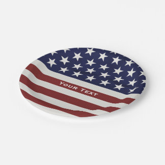American USA Flag Patriotic July 4th Custom Paper Plate