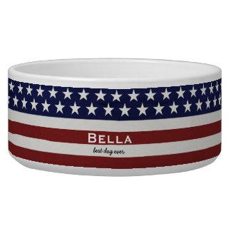 American USA Flag Patriotic July 4th Custom Dog Food Bowls