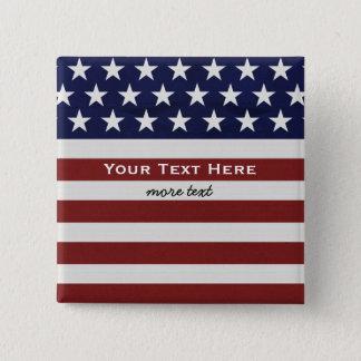 American USA Flag Patriotic July 4th Custom Pinback Button