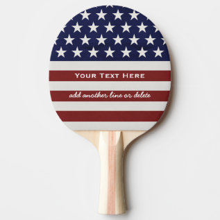 American Usa Flag Patriotic July 4th Custom Ping-pong Paddle at Zazzle