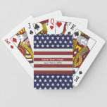 "American USA Flag Patriotic July 4th Custom Playing Cards<br><div class=""desc"">American Flag Patriotic Red, White and Blue design personalized with your name, text, patriotic saying or just delete the text. Red and white stripes and white stars on a navy blue background add a crisp accent to your home decor, accessories and gift giving. Show your USA pride everyday, on the...</div>"