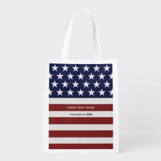 American USA Flag Patriotic July 4th Custom Reusable Grocery Bag