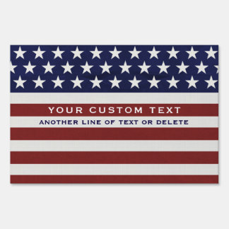 American USA Flag Patriotic July 4th Custom Sign