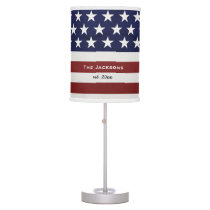American USA Flag Patriotic July 4th Custom Table Lamp