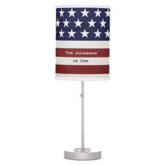 American USA Flag Patriotic July 4th Custom Table Lamp