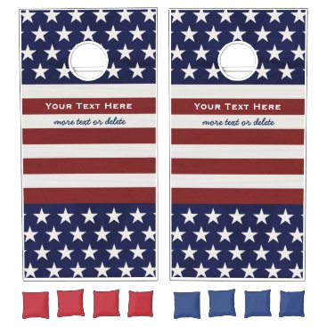 Beach Themed American USA Flag Patriotic July 4th Custom Text Cornhole Set