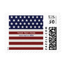 American USA Flag Patriotic July 4th Custom Text Postage